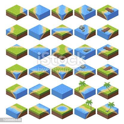 A set of isometric landscape game asset.