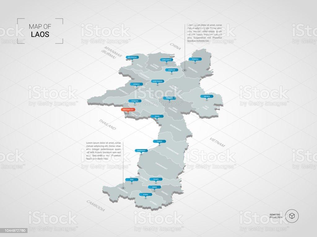 Laos Karte.Isometrische Laos Karte Mit Städtenamen Und Verwaltungsstruktur