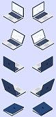 Isometric laptop icon set in vector.