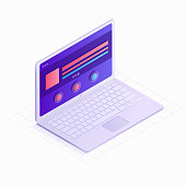 3D Isometric laptop flat design vector illustration. LCD monitor with website icon isolated on white background. Concept of digital technology with infographic elements for presentation, landing page.