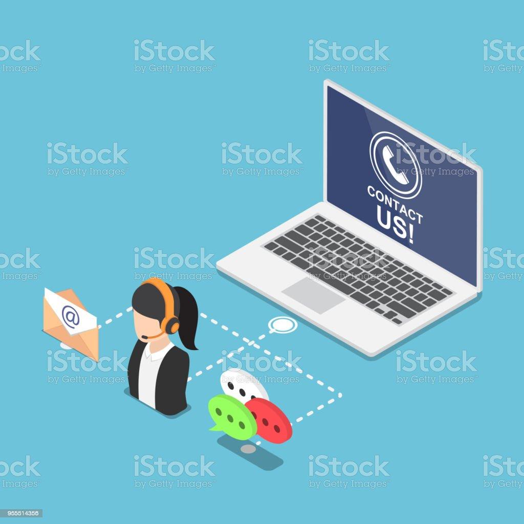 Isometrische Laptop Mit Kontakt Symbol Und Ikone Stock Vektor Art ...
