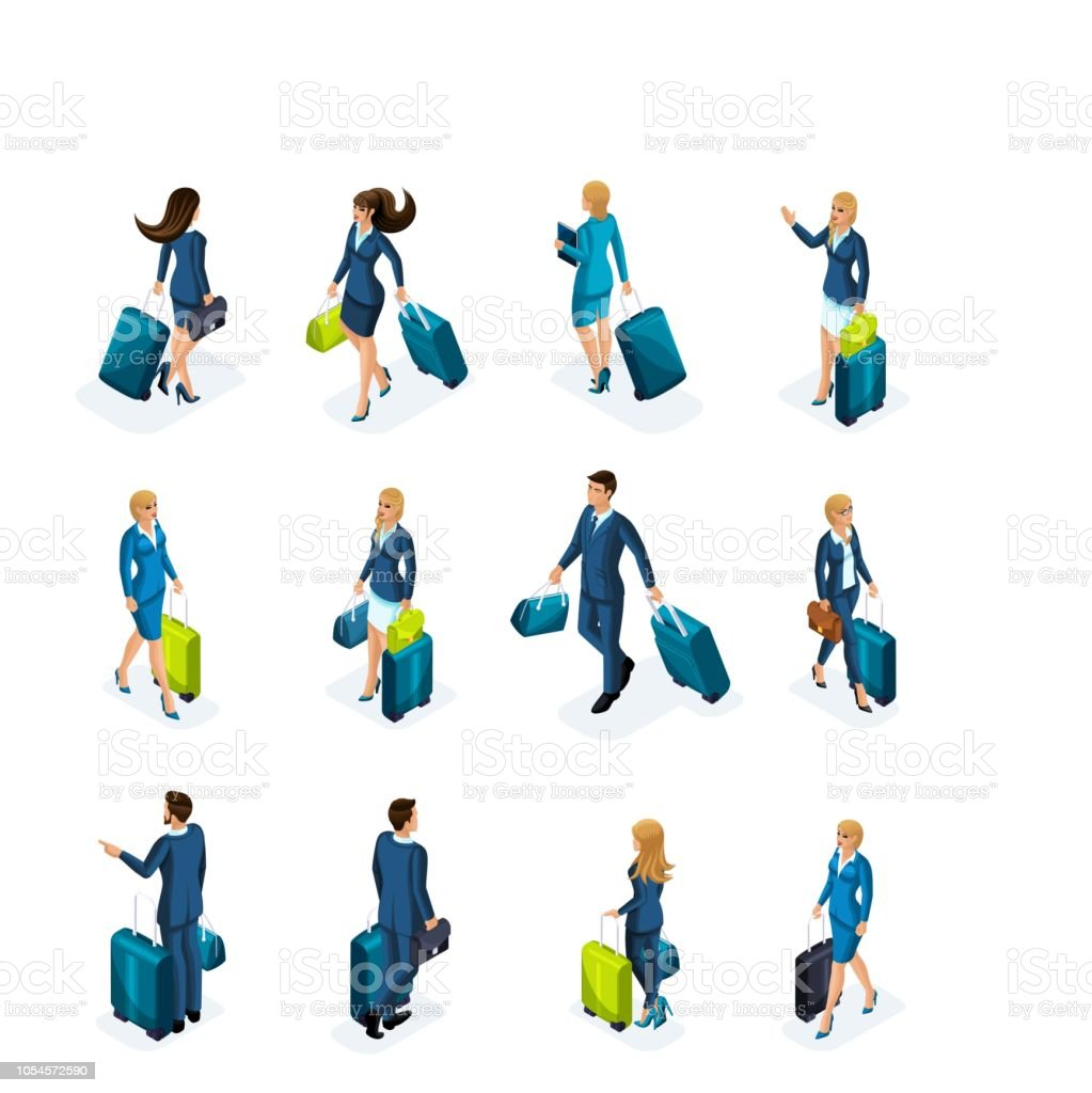 Isometric large Set of businessmen and business lady on a business trip, with luggage at the airport, front view and back view. Traveling businessmen vector art illustration