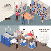 Laundry horizontal banners set with commercial laundry symbols isometric isolated vector illustration