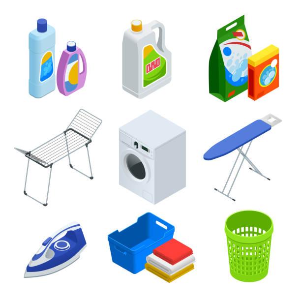 isometrische wäscherei service elemente set - waschküchendekorationen stock-grafiken, -clipart, -cartoons und -symbole