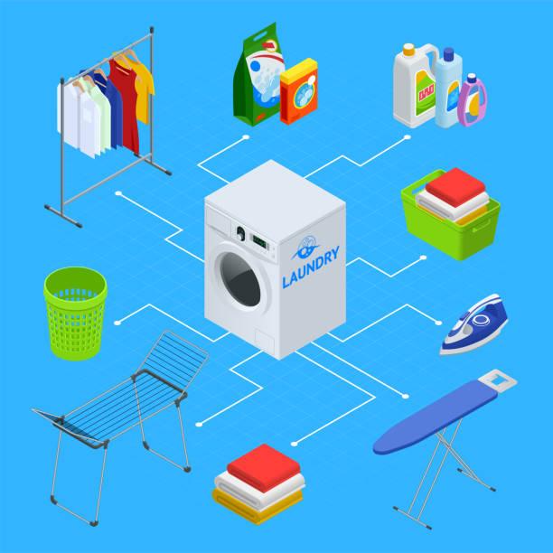 isometrische wäscherei service abbildung - waschküchendekorationen stock-grafiken, -clipart, -cartoons und -symbole