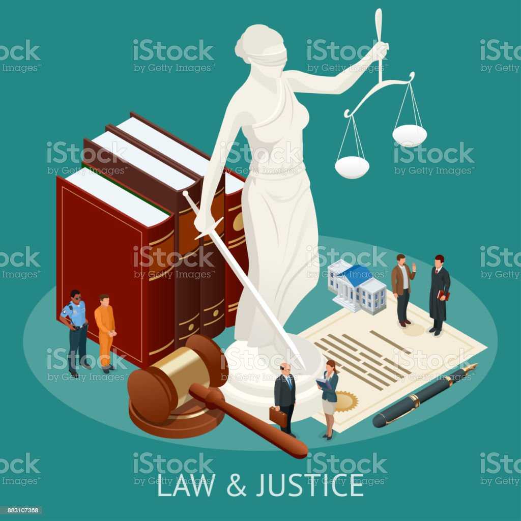Isometric Law and Justice concept. Law theme, mallet of the judge, scales of justice, books, statue of justice vector illustration. vector art illustration
