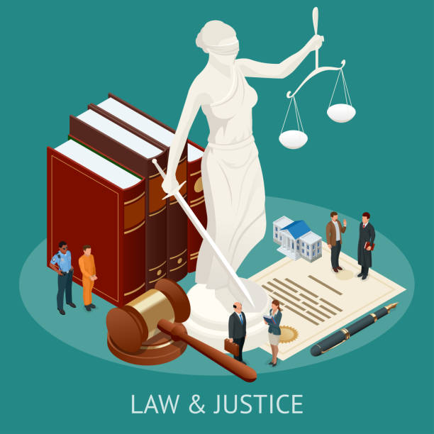 Isometric Law and Justice concept. Law theme, mallet of the judge, scales of justice, books, statue of justice vector illustration. Isometric Law and Justice concept. Law theme, mallet of the judge, scales of justice, books, statue of justice vector illustration courthouse stock illustrations