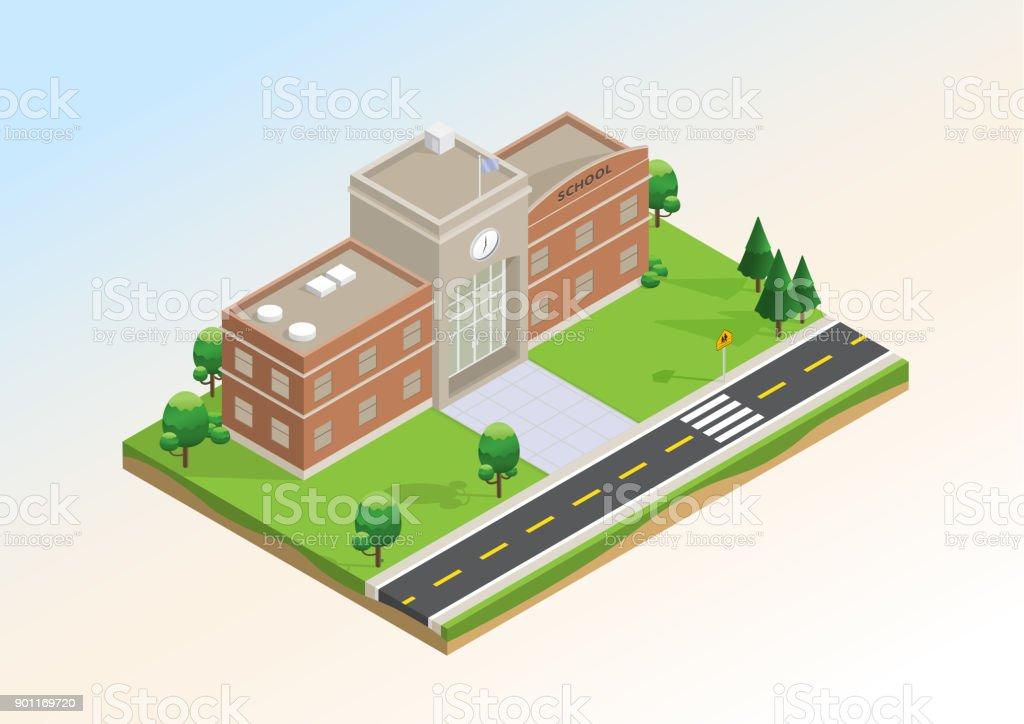 Isometric layout of school. vector art illustration