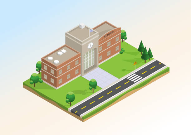 Isometric layout of school. Isometric layout of school with trees, lawn and  road infrastructure. Vector illustration design with concept of education, that use for infographic element, website, presentation and printing media. campus stock illustrations