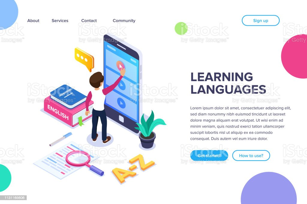 Isometric learning languages concept. Person learns foreign language...