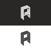 Isometric letter A icon hipster 3d monogram. AAA initials mockup. Perspective geometric shape typography hipster design element template for business or wedding card emblem.