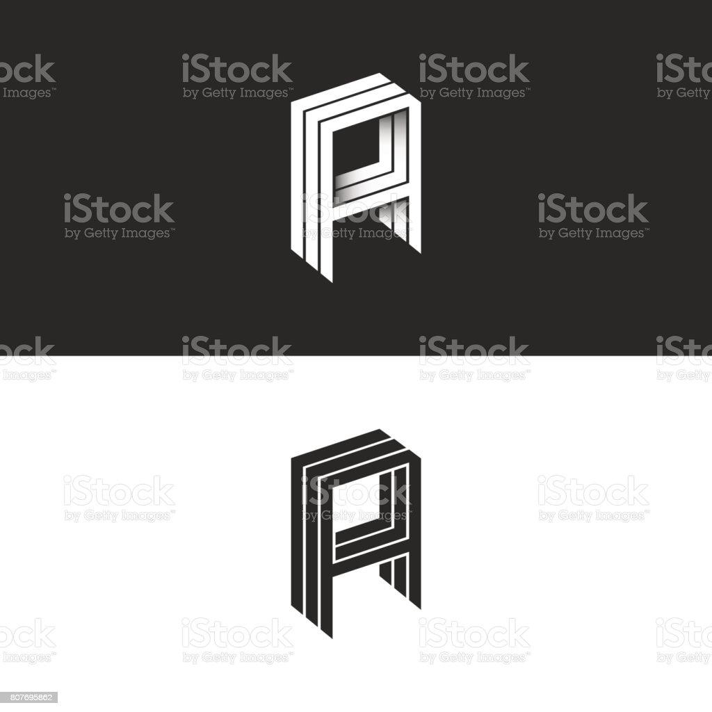 İzometrik mektup bir simge yenilikçi 3d monogram. AAA baş harfleri mockup. Perspektif geometrik şekil tipografi yenilikçi tasarım öğe şablonu için iş veya düğün kartı amblemi. vektör sanat illüstrasyonu