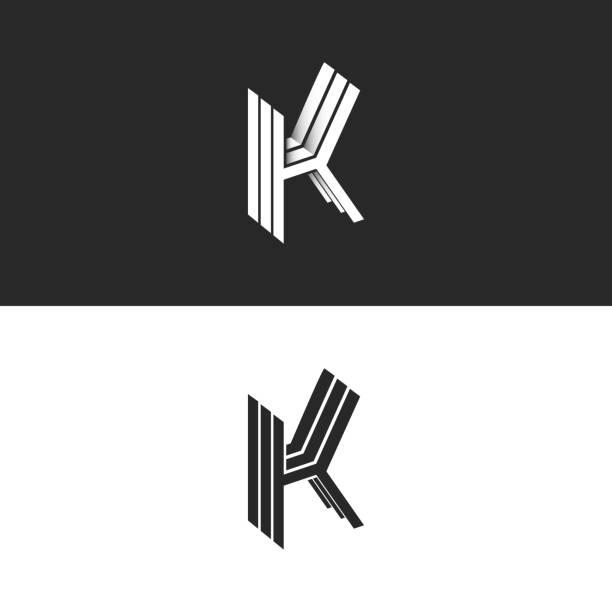Isometric letter K logo monogram, initials KKK mark crest emblem, creative modern 3D identity symbol Isometric letter K logo monogram, initials KKK mark crest emblem, creative modern 3D identity symbol k logo stock illustrations