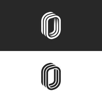 Isometric letter O initial or number zero monogram, creative 3d door logo, smooth perspective shape linear design template