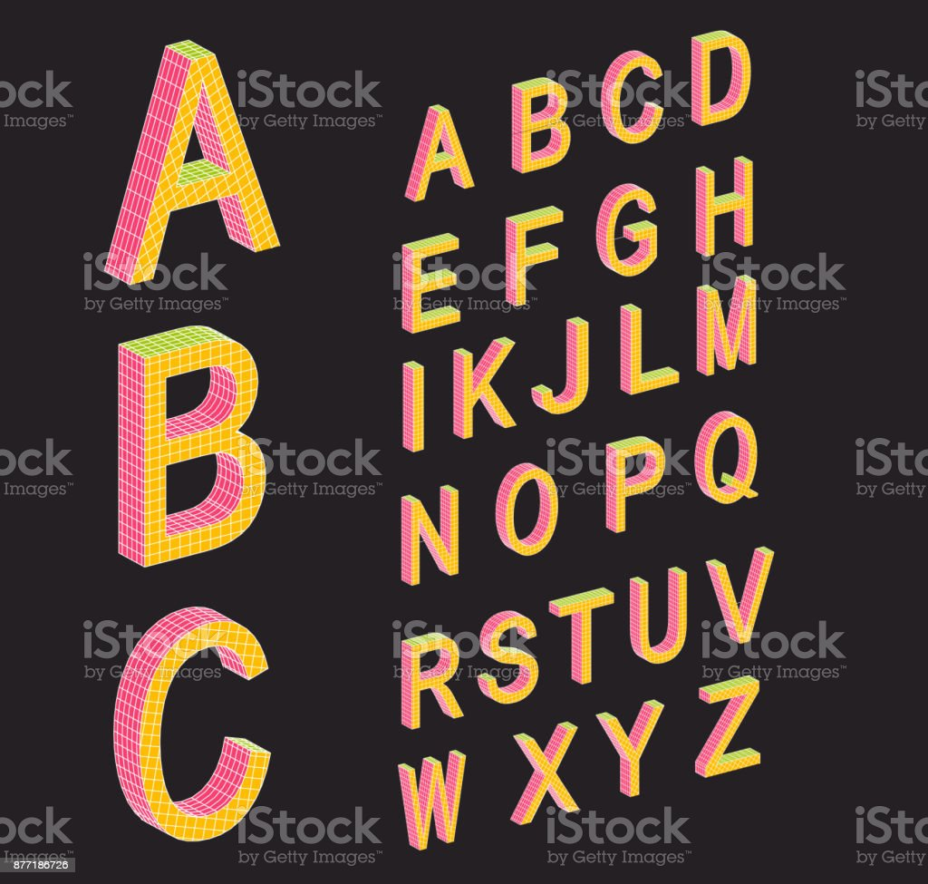 Isometric letters. Colored isometric 3d font. Retro style letters. Three-dimensional alphabet. Low poly 3d characters. Vector illustration. vector art illustration