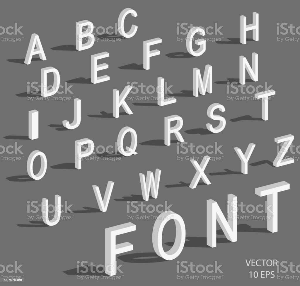 Isometric Letters With Falling Shadow White Isometric 3d