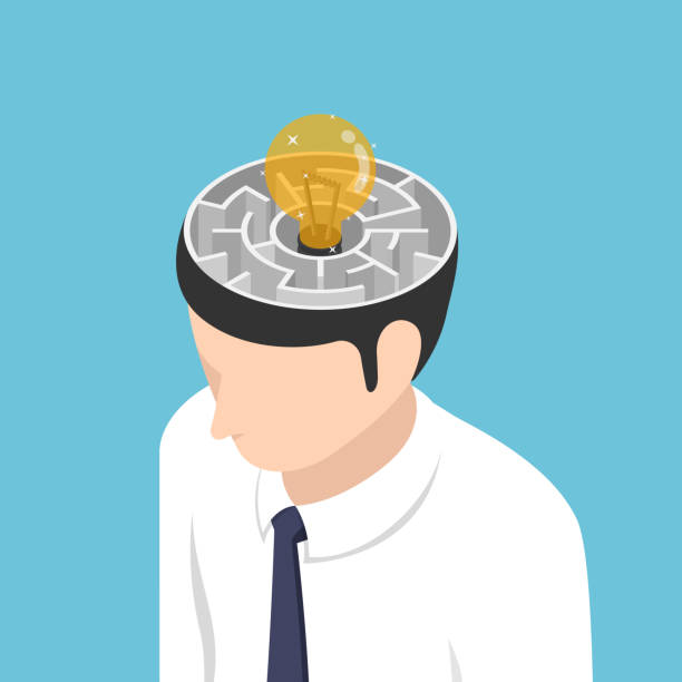 Isometric light Bulb of idea is in the center of maze inside businessman head vector art illustration