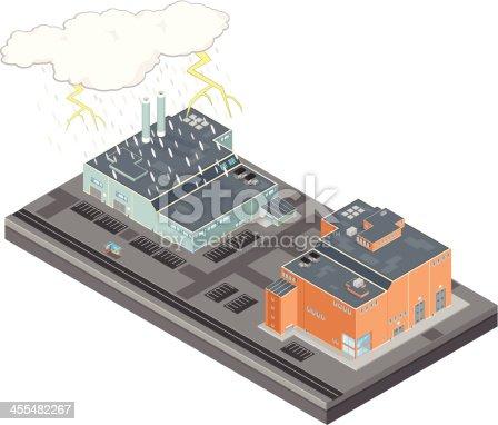 istock Isometric Lightening Storm over city 455482267