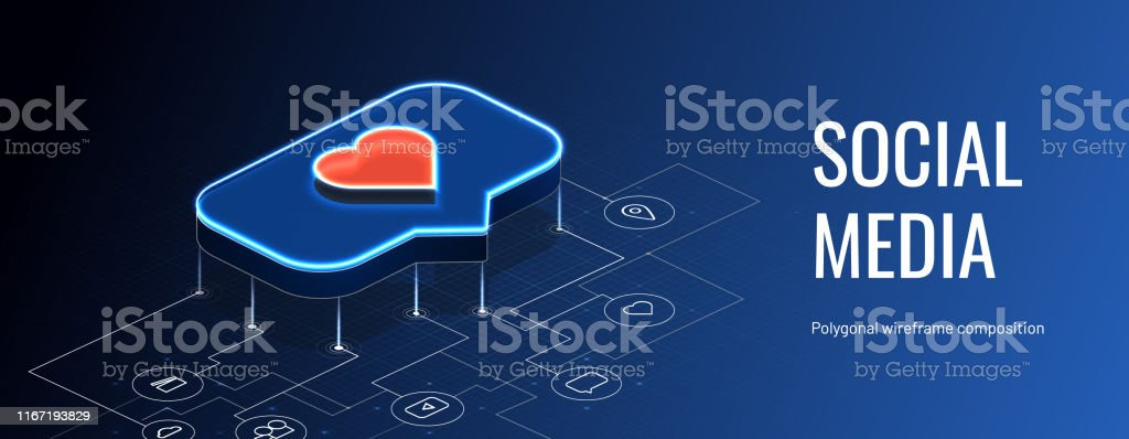 Isometric like on the social media. Circuit board with icons....