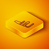 Isometric line Airplane seat icon isolated on orange background. Yellow square button. Vector Illustration