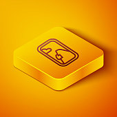 Isometric line Airplane window icon isolated on orange background. Aircraft porthole. Yellow square button. Vector Illustration