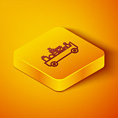 Isometric line Airport luggage towing truck icon isolated on orange background. Airport luggage delivery car. Yellow square button. Vector Illustration
