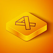 Isometric line Awareness ribbon icon isolated on orange background. Public awareness to disability, medical conditions and health. Yellow square button. Vector Illustration