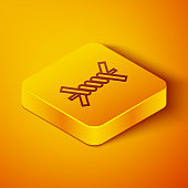 Isometric line Barbed wire icon isolated on orange background. Yellow square button. Vector Illustration