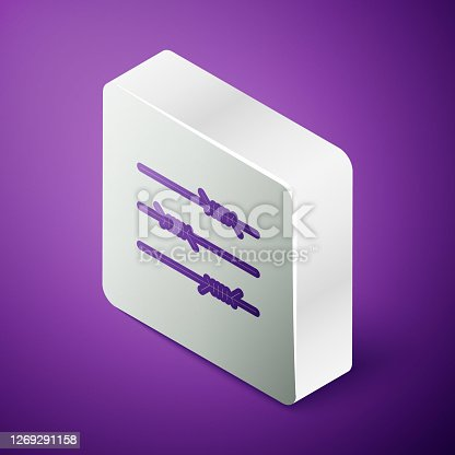 istock Isometric line Barbed wire icon isolated on purple background. Silver square button. Vector Illustration 1269291158