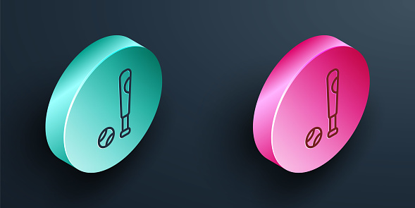Isometric line Baseball bat with ball icon isolated on black background. Turquoise and pink circle button. Vector