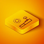 Isometric line Beach with umbrella and chair icon isolated on orange background. Tropical beach landscape. Good sunny day. Yellow square button. Vector Illustration