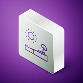 Isometric line Beach with umbrella and chair icon isolated on purple background. Tropical beach landscape. Good sunny day. Silver square button. Vector Illustration