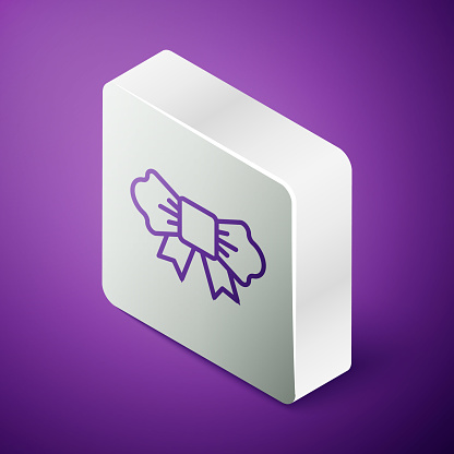Isometric line Bow tie icon isolated on purple background. Silver square button. Vector
