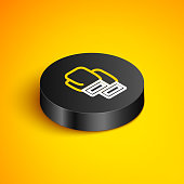 istock Isometric line Boxing glove icon isolated on yellow background. Black circle button. Vector 1296373159