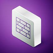 Isometric line Bricks icon isolated on purple background. Silver square button. Vector Illustration