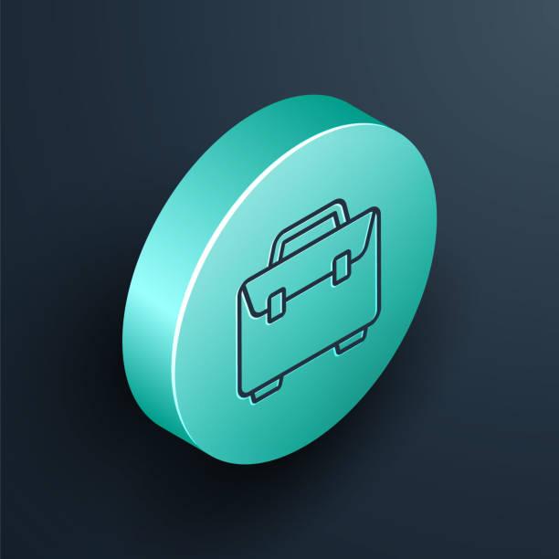 검은색 배경에 격리된 등각투영 선 서류 가방 아이콘입니다. 비즈니스 사례 기호입니다. 비즈니스 포트폴리오. 청록색 원 버튼. 벡터 일러스트레이션 - 단정한 사무복 stock illustrations