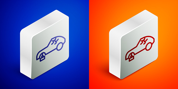 Isometric line Broken car icon isolated on blue and orange background. Car crush. Silver square button. Vector Illustration