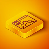 Isometric line Browser setting icon isolated on orange background. Adjusting, service, maintenance, repair, fixing. Yellow square button. Vector Illustration