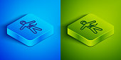 istock Isometric line Bungee jumping icon isolated on blue and green background. Square button. Vector Illustration 1255179099