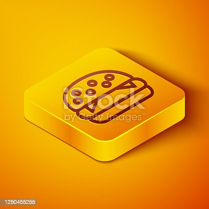 istock Isometric line Burger icon isolated on orange background. Hamburger icon. Cheeseburger sandwich sign. Fast food menu. Yellow square button. Vector Illustration 1250455255