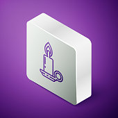Isometric line Burning candle in candlestick icon isolated on purple background. Cylindrical candle stick with burning flame. Silver square button. Vector Illustration