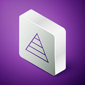 Isometric line Business pyramid chart infographics icon isolated on purple background. Pyramidal stages graph elements. Silver square button. Vector Illustration