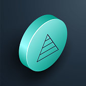 Isometric line Business pyramid chart infographics icon isolated on black background. Pyramidal stages graph elements. Turquoise circle button. Vector Illustration