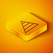 Isometric line Business pyramid chart infographics icon isolated on orange background. Pyramidal stages graph elements. Yellow square button. Vector Illustration
