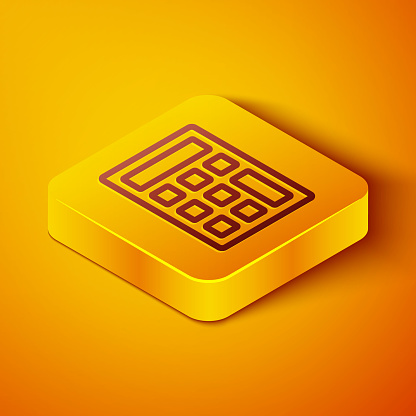 Isometric line Calculator icon isolated on orange background. Accounting symbol. Business calculations mathematics education and finance. Yellow square button. Vector