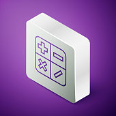 Isometric line Calculator icon isolated on purple background. Accounting symbol. Business calculations mathematics education and finance. Silver square button. Vector Illustration