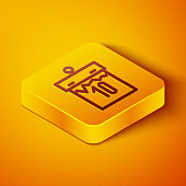 Isometric line Calendar icon isolated on orange background. Event reminder symbol. Yellow square button. Vector Illustration