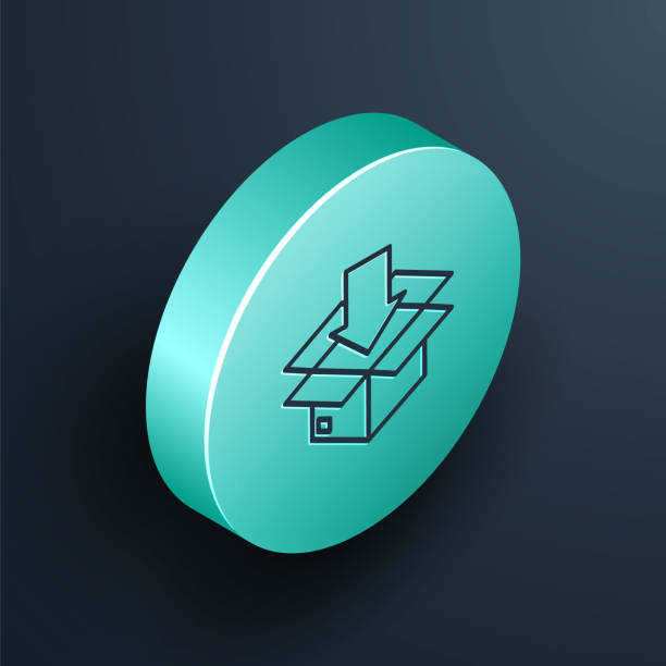 Isometric line Cardboard box with traffic symbol icon isolated on black background. Box, package, parcel. Delivery, transportation and shipping. Turquoise circle button. Vector Illustration Isometric line Cardboard box with traffic symbol icon isolated on black background. Box, package, parcel. Delivery, transportation and shipping. Turquoise circle button. Vector Illustration blue clipart stock illustrations
