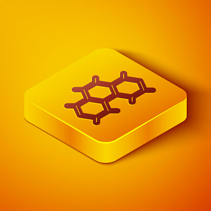 Isometric line Chemical formula icon isolated on orange background. Abstract hexagon for innovation medicine, health, research and science. Yellow square button. Vector