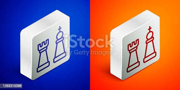 Isometric line Chess icon isolated on blue and orange background. Business strategy. Game, management, finance. Silver square button. Vector.